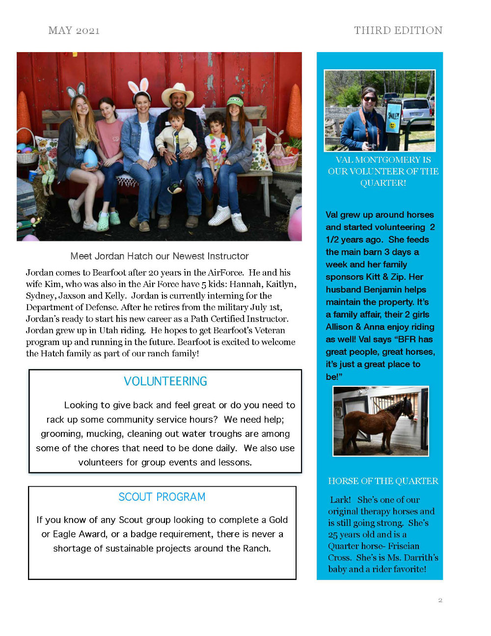 Bearfoot Ranch May 2021 Newsletter page 2